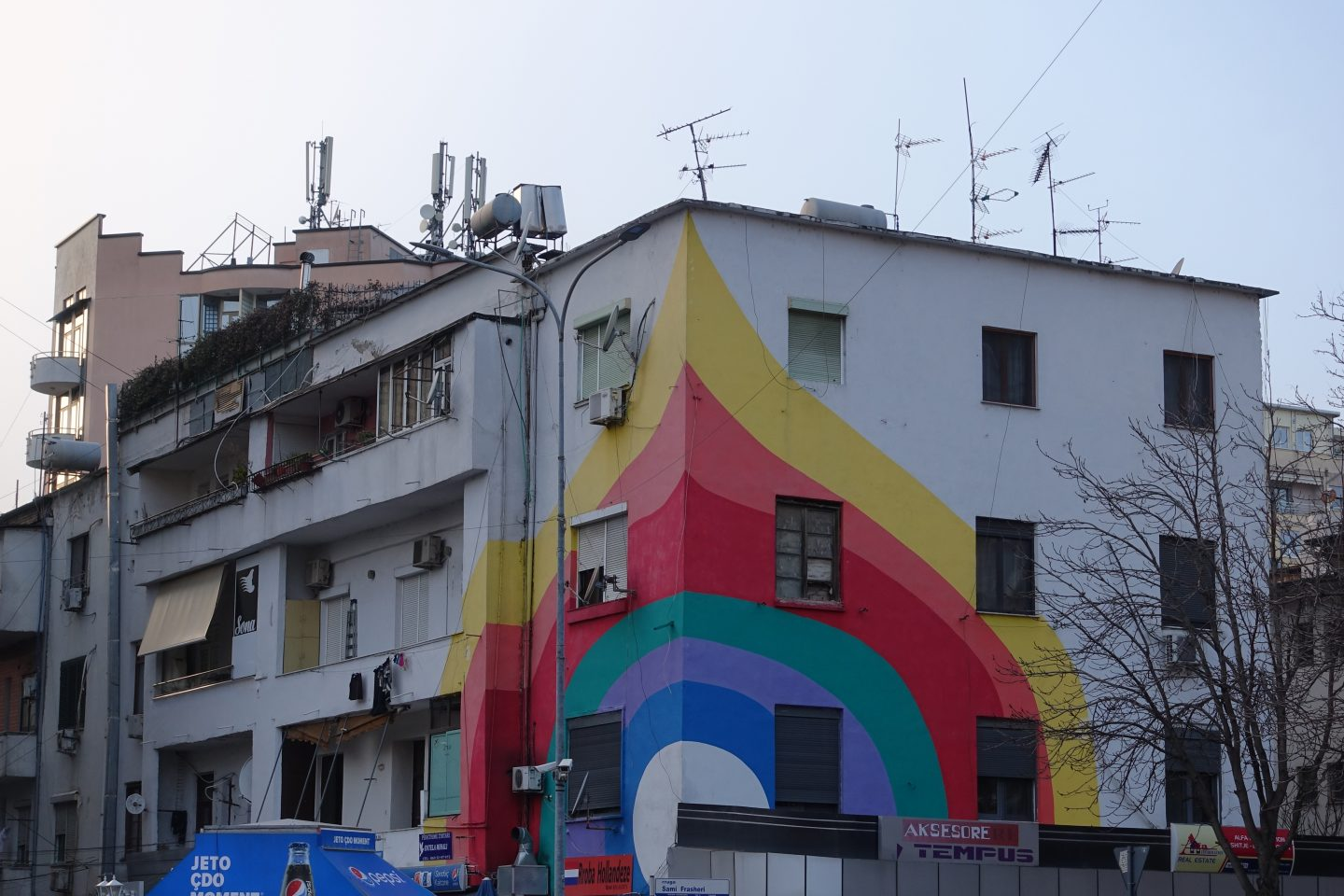 All the colors of the rainbow: Street art and buildings in Tirana