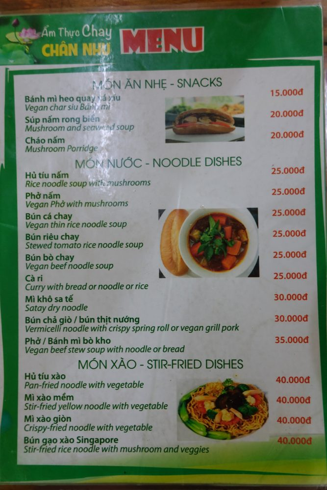 Menu at Chan Nhu II