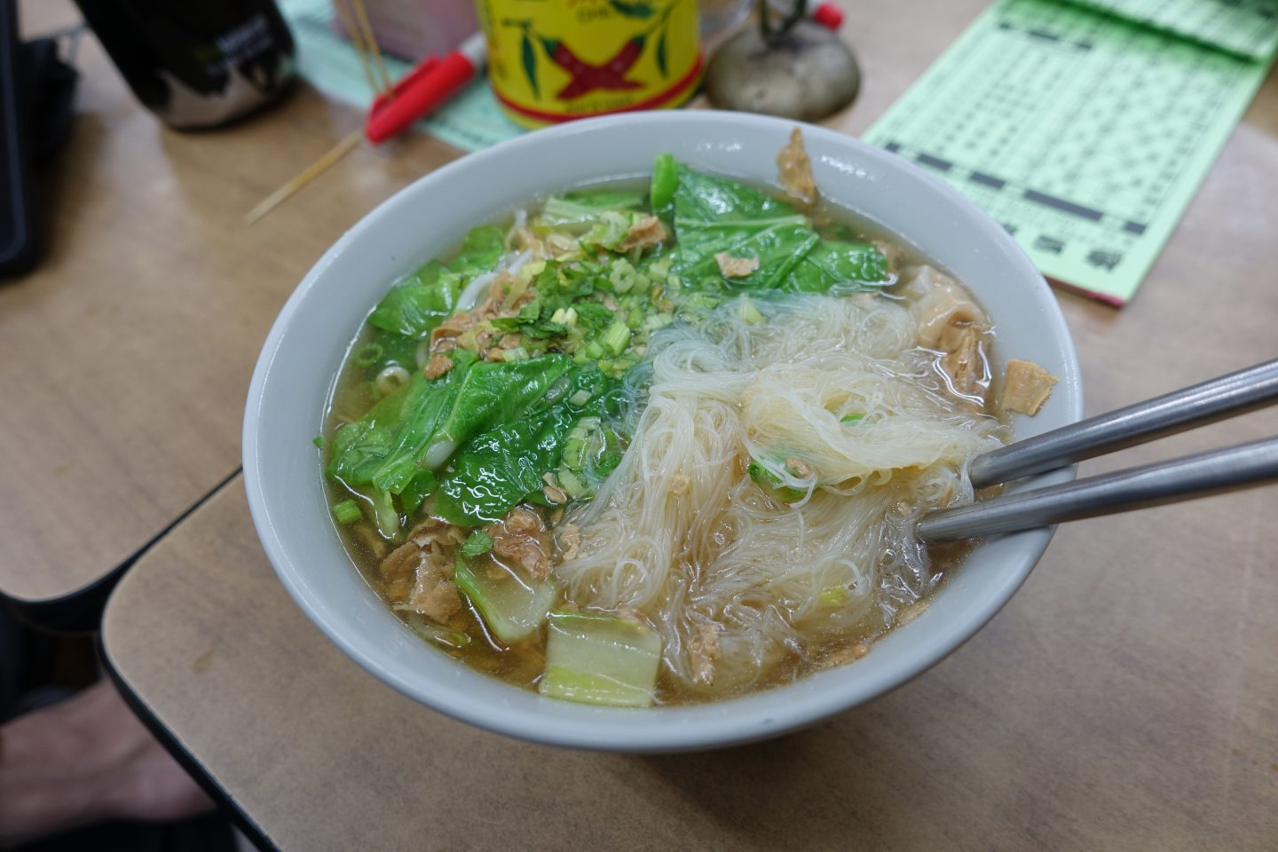The best place to eat vegan food in Taipei Xiu Yuan Su Shi - wonton soup